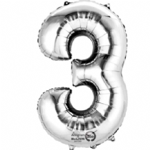 "Silver Number 3 Mini-Foil Balloon (16"" Air) 1pc"